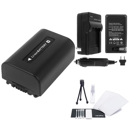 NP-FV50 High-Capacity Replacement Battery with Rapid Travel Charger for Select Sony Camcorders. UltraPro Bundle Includes: Camera Cleaning Kit, Screen Protector, Mini Travel Tripod (Sony Screen Replacement Kit)