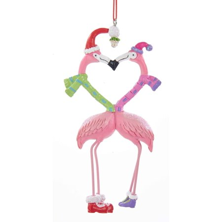 Kurt Adler Kissing Pink Flamingos Under Mistletoe  Holiday Ornament](Flamingo Ornaments)