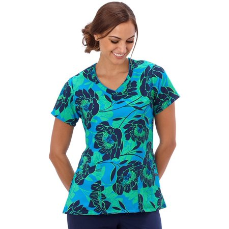 Flare Print Wrap - Classic Fit Collection by Jockey® Women's Mock Wrap Floral Print Scrub Top