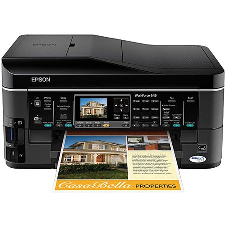 Epson WorkForce 645 Wireless All-in-One Color Inkjet Printer, Copier, Scanner, Fax, iOS/Tablet/Smartphone/AirPrint Compatible (C