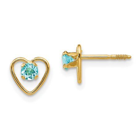 ff3ca49d6 14K Yellow Gold Madi K Children's 6 MM Blue Zircon December Birthstone  Heart Screw Back Stud Earrings
