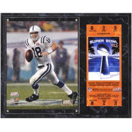 Indianapolis Colts Super Bowl XLI Peyton Manning Plaque with Replica Ticket