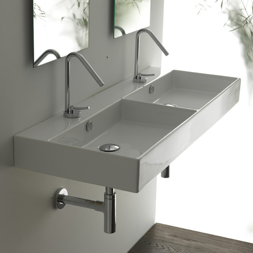 WS Bath Collections Ceramica II Unlimited Ceramic Ceramic Rectangular Vessel Bathroom Sink with Overflow