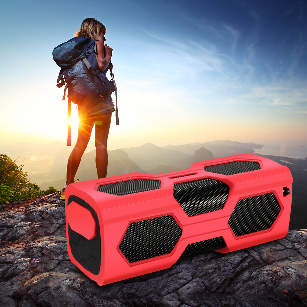 3600mAh Wireless Bluetooth 4.0 Waterproof Speaker Power Bank Shockproof Portable Speaker Super Bass Built-in Mic NFC with Metal Hook for Smartphones Outdoor
