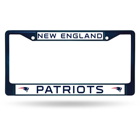 Rico Industries NFL Color License Plate Frame, New England (Blue Laser License Plate)