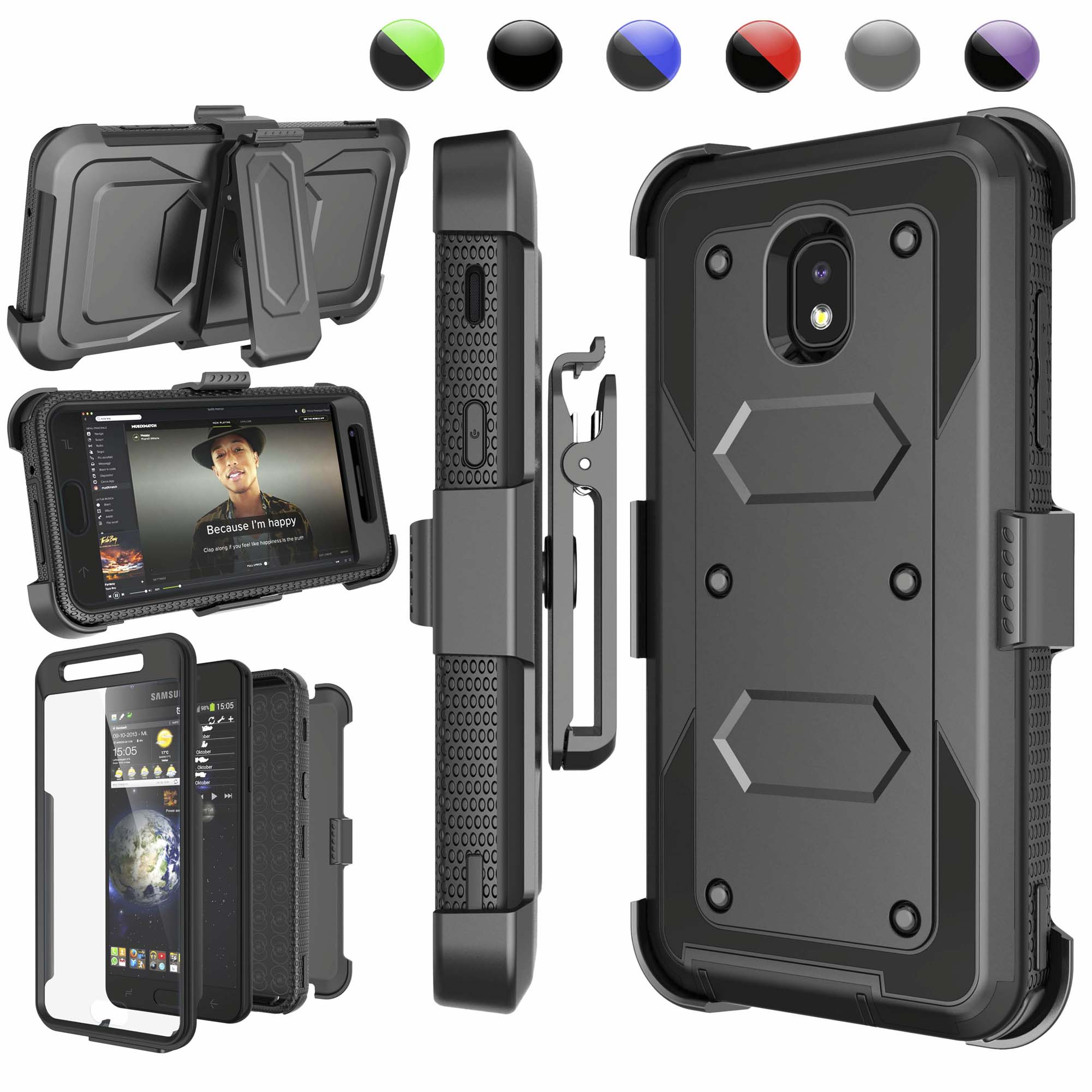 Galaxy J7 2018 Case, Njjex Samsung J7 Refine / J7 Aero / J7 Aura / J7 Crown / J7 Top / J7 Eon / J7 Star Case Holster, [Built-in Screen] & Kickstand + Holster Belt Clip Carrying Armor Case Cover