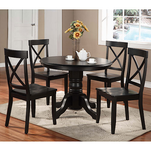 Home Styles 5 Piece Pedestal Dining Room Set, Black by Home Styles