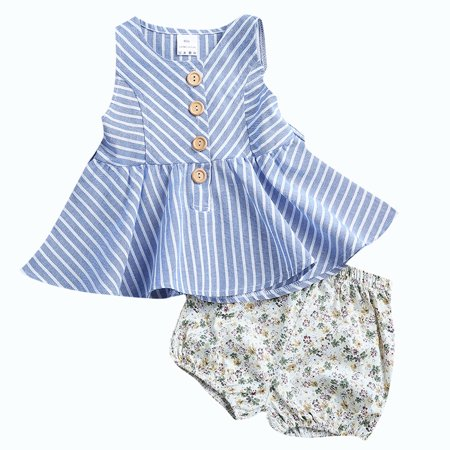Baby Girls Buttons Stripe Sleeveless Slim Princess Dress+Floral Short Pants Outfit](Baby Girl Princess Outfit)