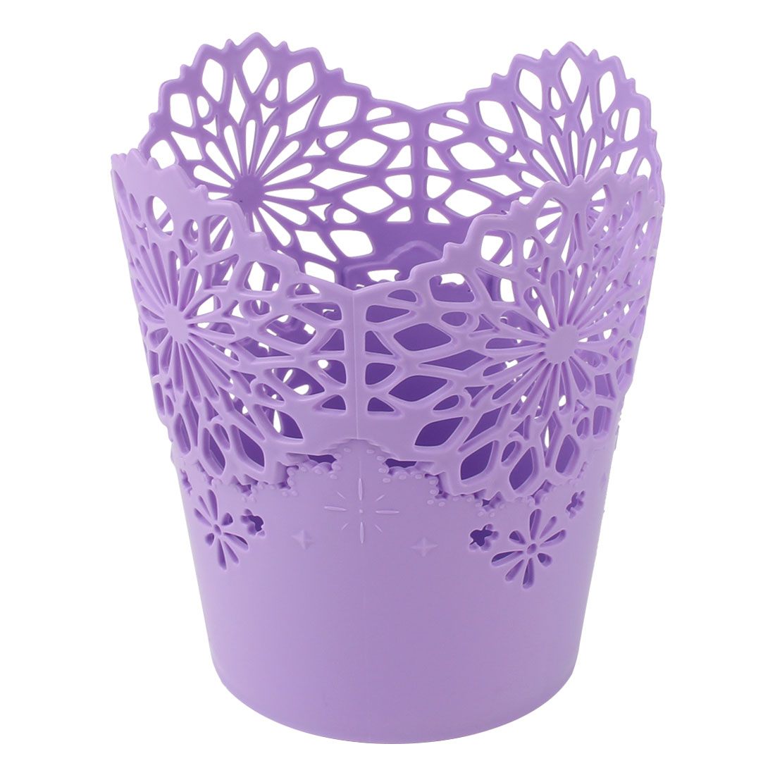 Unique Bargains Desktop 13cm x 14.5cm Purple Plastic Wastepaper Storage Basket Rubbish Bin Trash