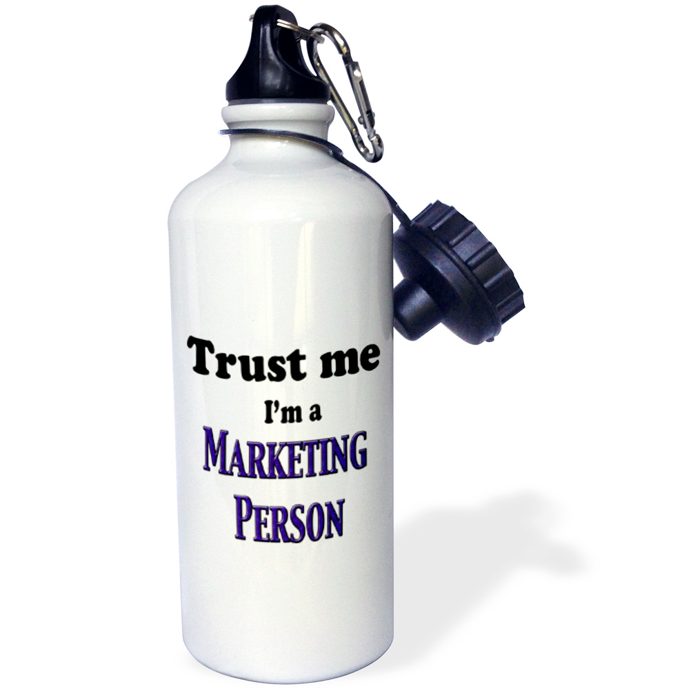 3dRose Trust me Im a Marketing Person, Sports Water Bottle, 21oz