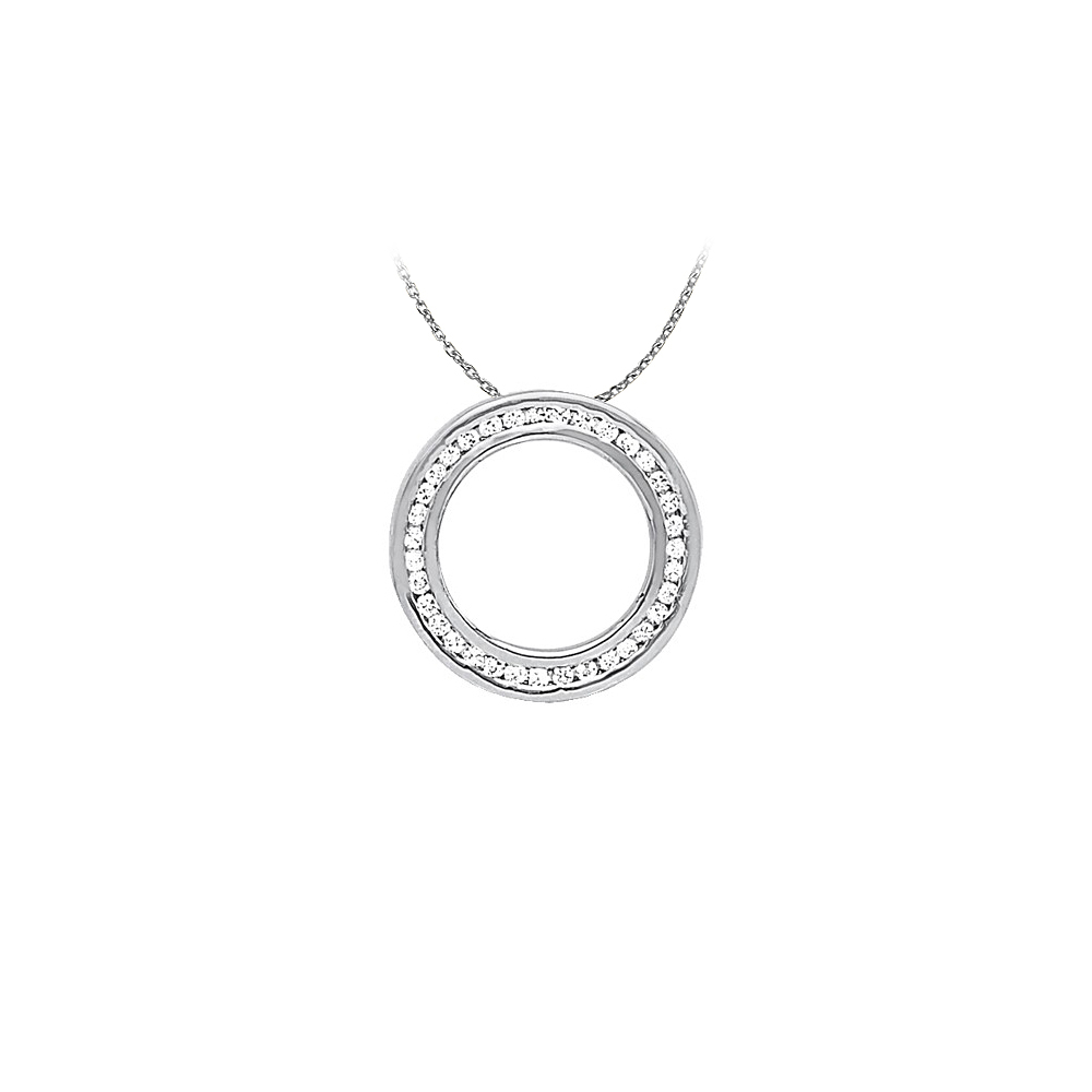 Cool Gift Cubic Zirconia Circle Pendant in Sterling Silver with Cute Free 16 Inch Chain - image 2 de 2