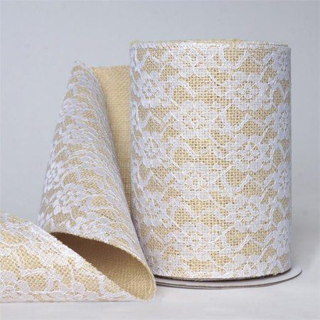 Burlap Ribbon With Lace (6