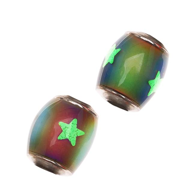 Mirage Color Changing Mood Beads -Tube Spacers W/ Glow-In-The-Dark Stars 12MM /4