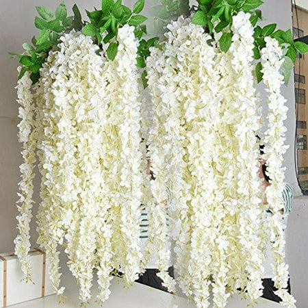 e-joy Artificial Fake Wisteria Vine Garland, Silk Hanging String Flower, Artificial Vine Ratta Silk Hanging Flower Plant for Home Garden Wedding Decor, 72pieces, 3.6 Feet Each](Artificial Flower Garlands)