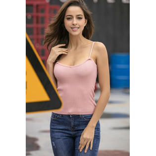 Women Top Knitted Deep Neck Straps Camisole Apricot