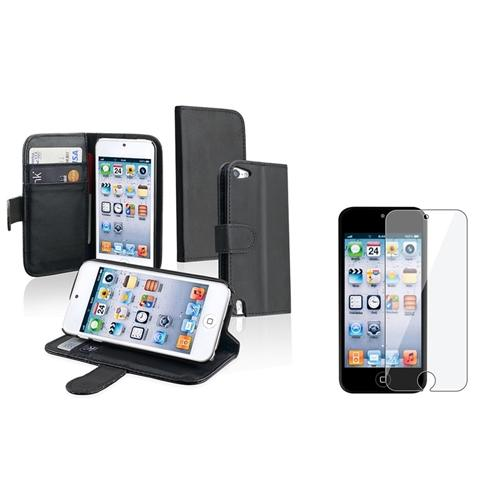 Insten Black with Card Holder Stand Leather Case + Clear Screen Protector for Apple iPod touch 6th 5th Generation
