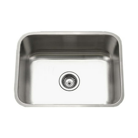 Houzer STS-1300-1 Eston Series Undermount Stainless Steel Single Bowl Kitchen Sink, 18 Gauge