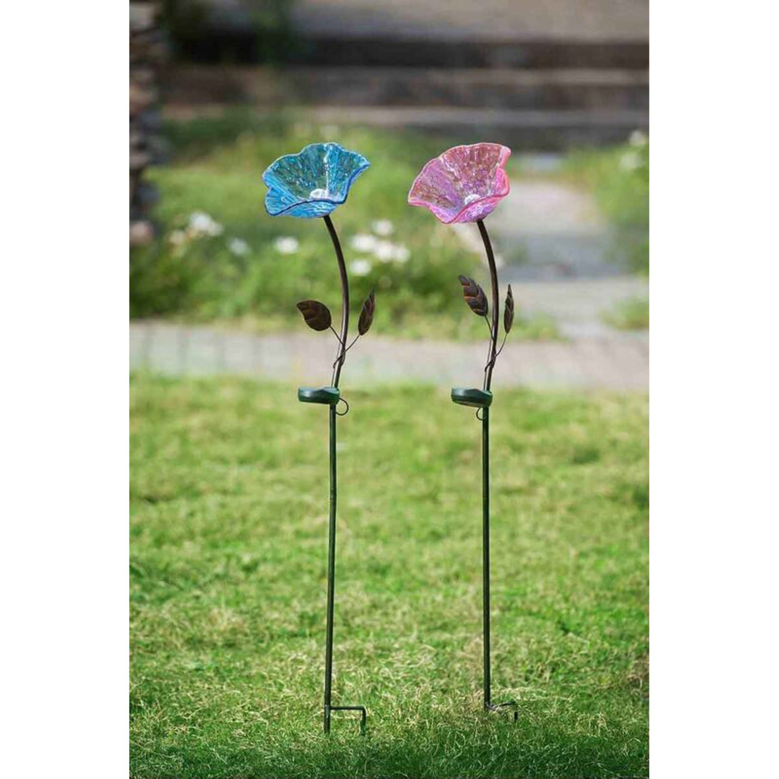Sunjoy 110309029 Flower Garden Stake with LED Solar Technology, Purple and Blue, Set of 2, 40""