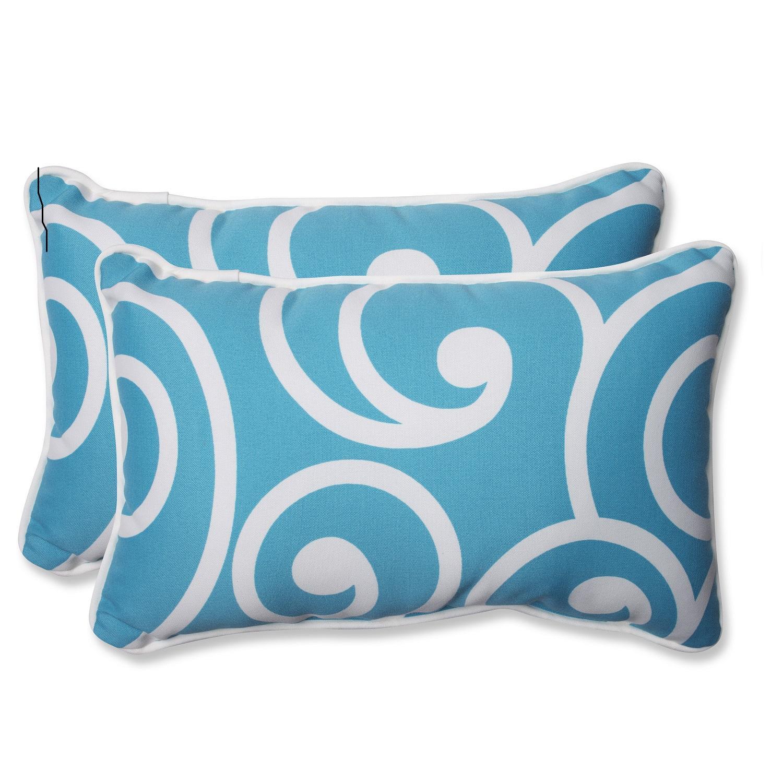 "Set of 2 Coastal Serenity Swirl Print Outdoor Rectangle Throw Pillows 18.5"" x 11.5"""