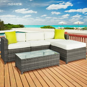 5PC Rattan Wicker Sofa Set Cushioned Sectional Outdoor Garden Patio Furniture