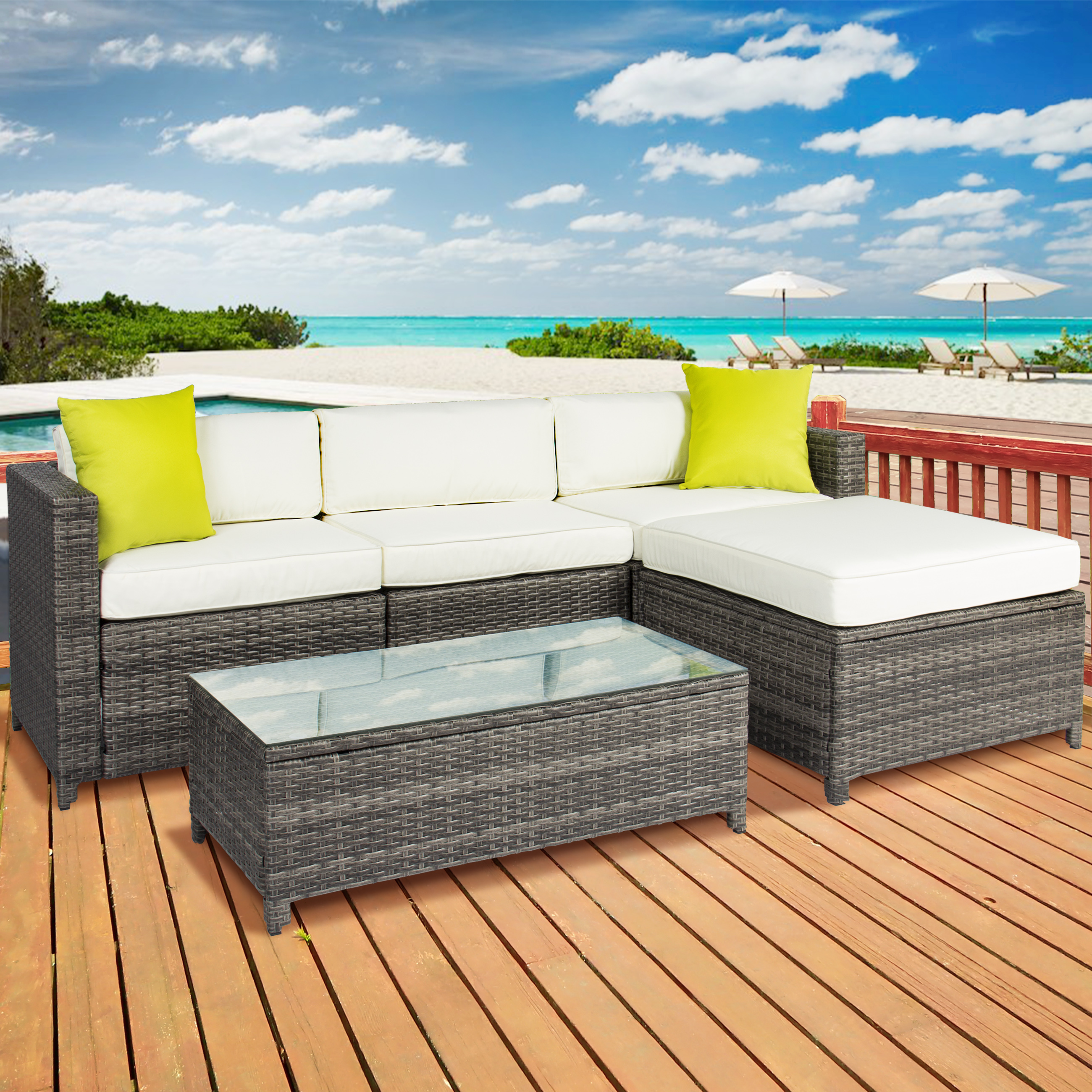 Outdoor Patio Furniture Cushioned 5PC Rattan Wicker Aluminum Frame Sectional Sofa Set
