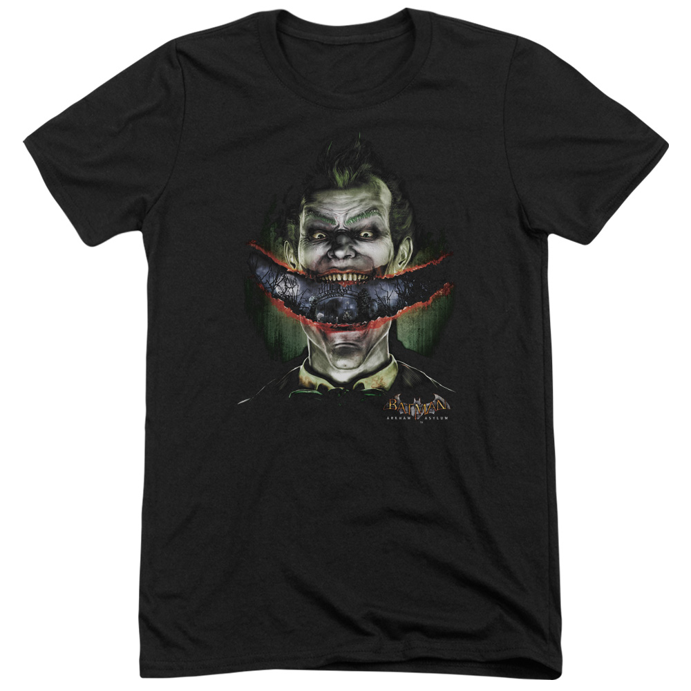 Batman Arkham Asylum Crazy Lips Mens Tri-Blend Short Sleeve Shirt