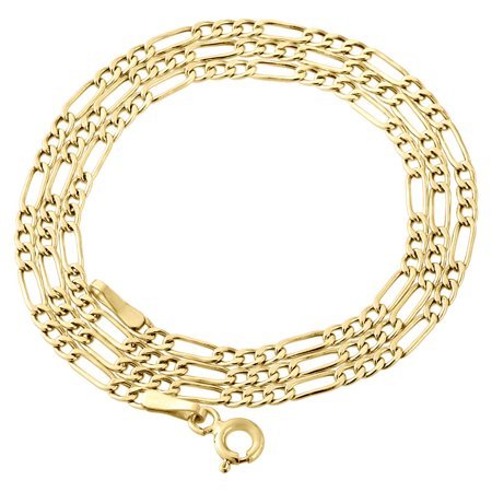 Genuine 10K Yellow Gold Figaro Chain 2.50mm Necklace Mens or Ladies 16 Inches