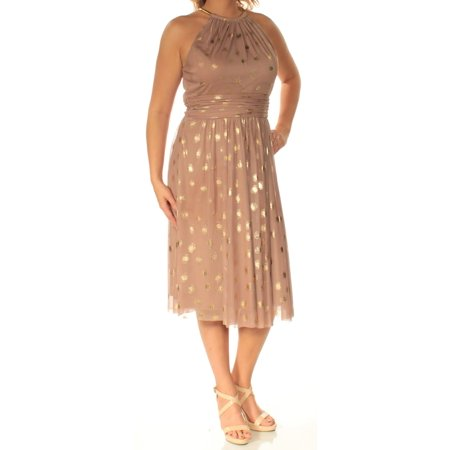 JESSICA HOWARD Womens Brown Polka Dot Sleeveless Crew Neck Below The Knee Fit + Flare Dress  Size: 12 - Jessica Rabbit Dress Plus Size