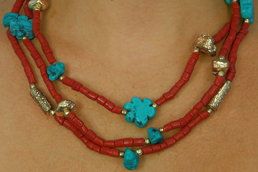 Lead And Nickel Free Brushed Gold Tone Beads With Turquoise And Coral Color Beaded Necklace And Earring Set by