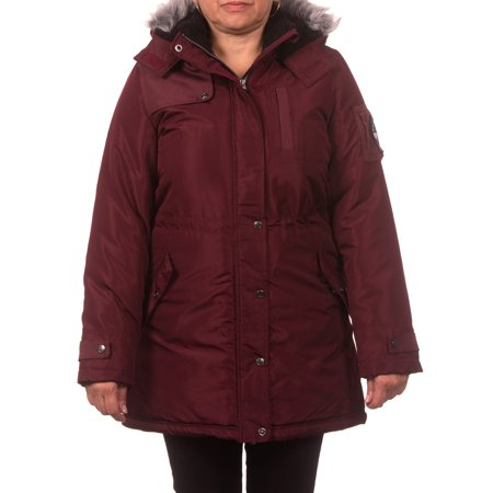 Pink Platinum Junior Plus Size Expedition Anorak Puffer Coat with Berber-Lined and Faux Fur Trimmed - Light Pink Coat