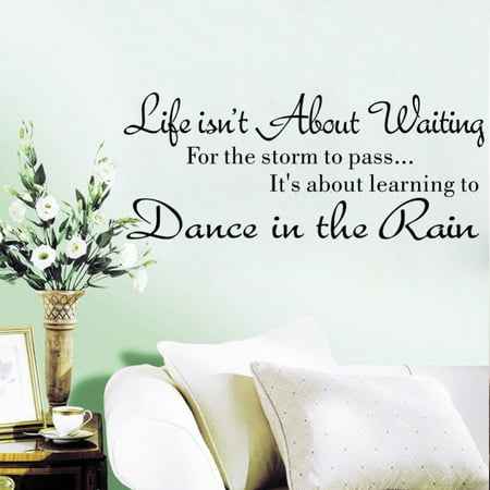 Mosunx Life Isn't About Waiting Wall Stickers Quote Dancing in rain Wall Decal Words - Qoutes About Halloween