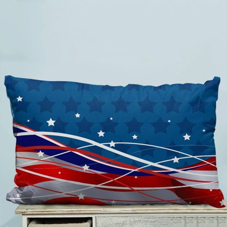 Patriotic Strips - GCKG Patriotic Background The Stars and the Stripes Pillow Case Pillow Cover Pillow Protector Two Sides 20 x 30 Inches