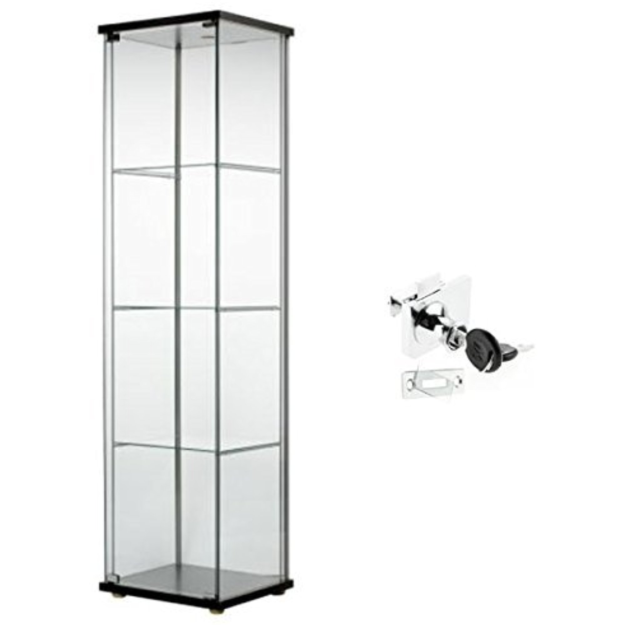Ikea Detolf Glass Curio Display Cabinet Black Lockable Lock Is