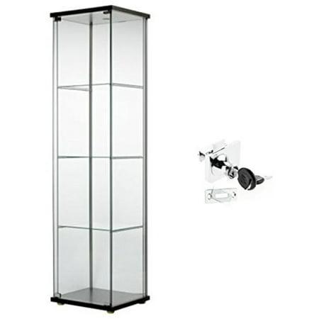 Ikea Detolf Glass Curio Display Cabinet Black, Lockable, Lock Is Included,