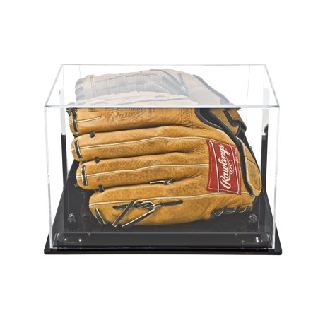 Acrylic Baseball Case (Deluxe Acrylic Baseball Glove Display Case with Black Risers Mirror and Wall Mount)