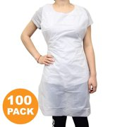 """Disposable 24""""x42"""" Medium Waterproof Grease Resistant Poly Adult Women Men Bib Apron with Dispenser Box, White [100 Pack]"""