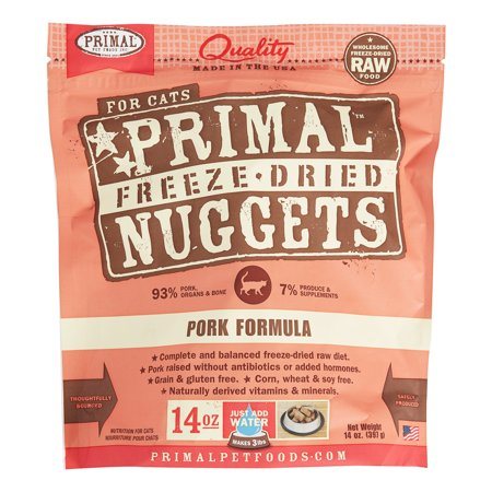 Primal Pet Foods Nuggets Grain-Free Pork Formula Freeze Dried Cat Food, 14