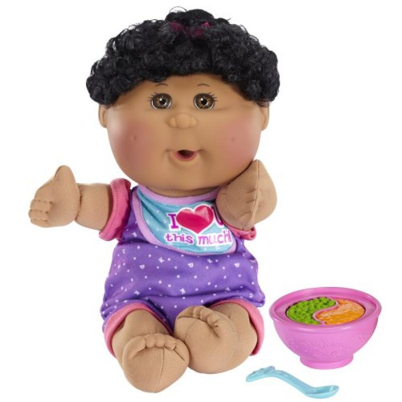 Cabbage Patch Kids African American Girl Fun to Feed Babies Doll, Black Hair, Brown Eyes by