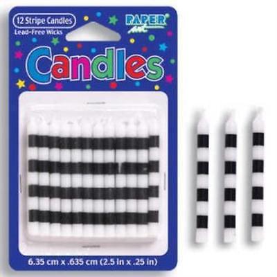 White & Black Stripe Candles , 5PK