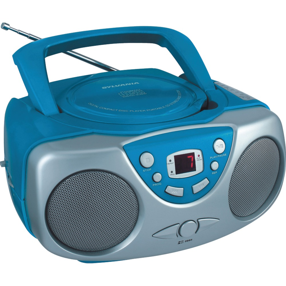 Sylvania SRCD243M BLUE Portable CD Boom Box with AM/FM Ra...