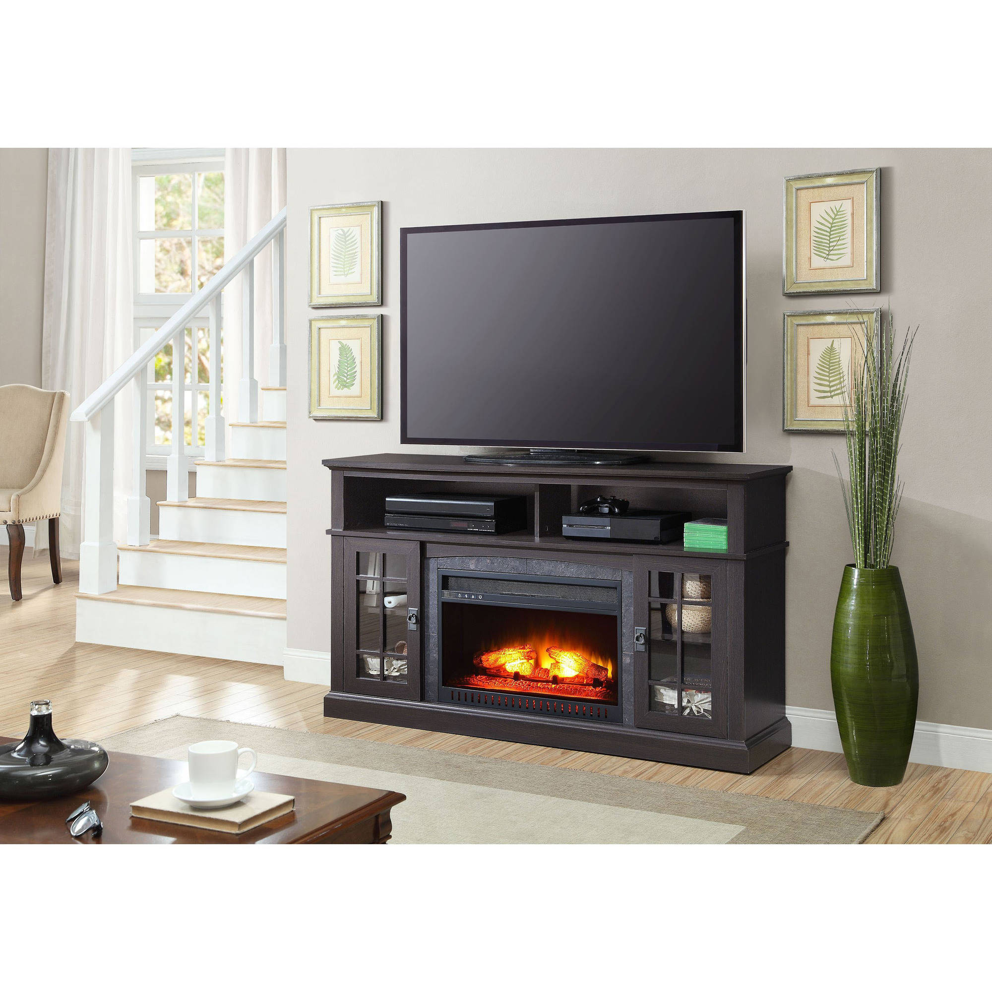 "Better Homes and Gardens Mission Media Fireplace for TVs up to 65"", Black"
