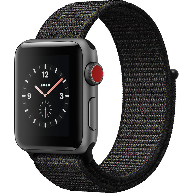Watch Series 3 38mm Apple Space Gray Aluminum Case Black Sport Loop Band GPS + Cellular MRQE2LL/A