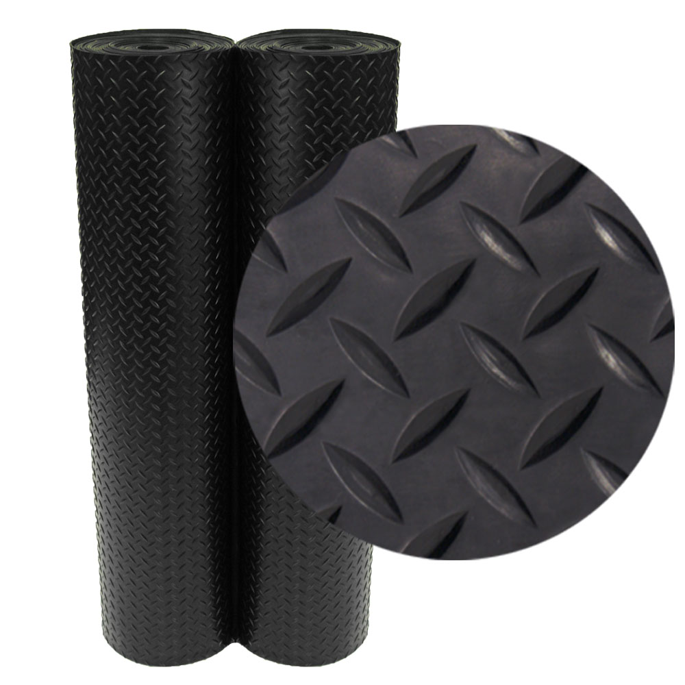 "Rubber-Cal ""Diamond-Plate"" Rubber Flooring Rolls - 3 mm x 4 ft x 4 ft Rolls - Black"