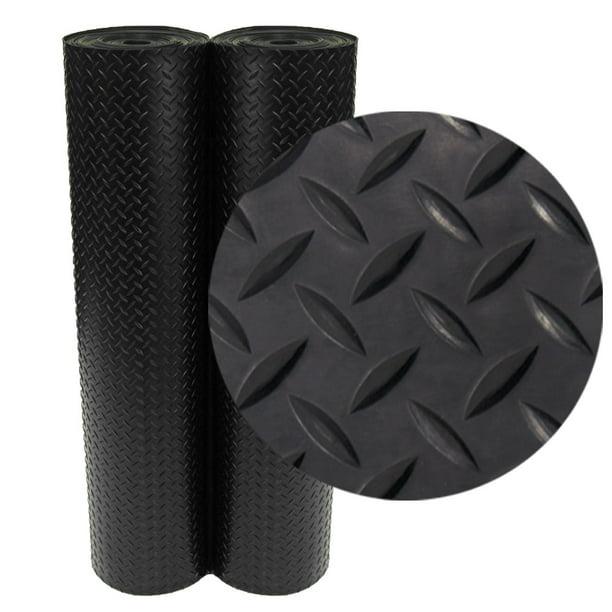 Rubber Cal Diamond Plate Rubber Flooring Rolls 3 Mm X 4 Ft X 5 Ft Rolls Black Walmart Com Walmart Com