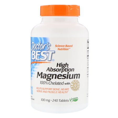 Doctor's Best, High Absorption Magnesium, 100% Chelated with Albion Minerals, 100 mg, 240 Tablets(pack of