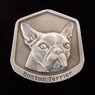 Boston Terrier Fine Pewter Dog Breed Ornament The sculpted image of your pet is surrounded with a wreath of holly and ivy. You will treasure this ornament for years to come. hey are made of Fine Pewter and come in a Christmas gift box for storing. Lindsay Claire is a Canadian manufacturer of Fine Pewter Gifts and Collectibles.  Each pewter item is cast in our shop from fine pewter and meticulously hand polished to a satin finish.Ornament is approximately 3  and has a satin cord attached for hanging.