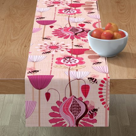 Image of Table Runner Mod Floral Mid Century Folk White Pink Flowers Atomic Cotton Sateen