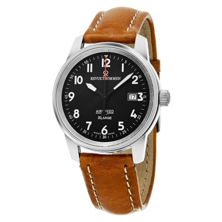 Men's 16052.2537 'Air speed XL' Black Dial Brown Leather Strap Swiss Mechanical Watch