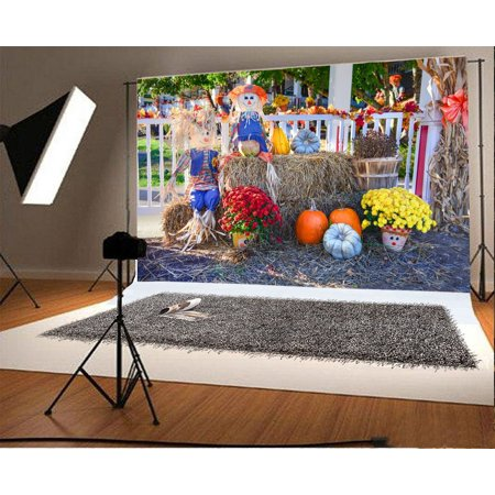MOHome Polyster 7x5ft Backdrop Photography Background Thanksgiving Display Festival Harvest Pumpkins Yellow and Red Flowers Haystack Decoration Scarecrow Halloween Backdrop for Photo Shot Portraits - Halloween Harvest Festival Nyc