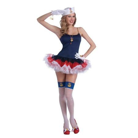Sexy Lady In The Navy Patriotic Crinoline Costume Slip Dress One Size - image 1 de 1
